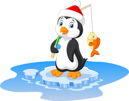 ice fishing: Vector illustration of penguin fishing