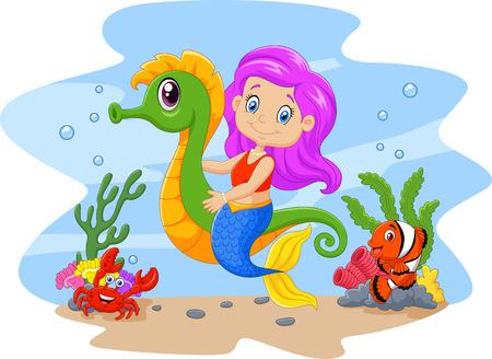 payasos caricatura: Ilustración vectorial de lindo sirena que monta caballito de mar de dibujos animados acompañado de pescado y cangrejo
