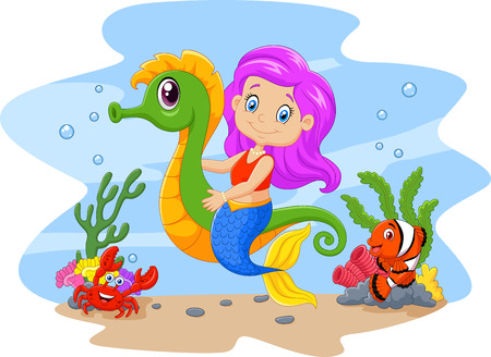 mermaid: Vector illustration of Cartoon cute mermaid riding seahorse accompanied by fish and crab Illustration