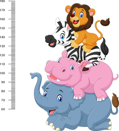 Vector illustration of Height scale with funny Africa animal collection set