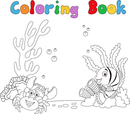 sea anemone: Vector illustration of Cartoon under water coloring book