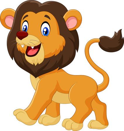 animales safari: Ilustración del vector del león de la historieta adorable caminar aislado en el fondo blanco