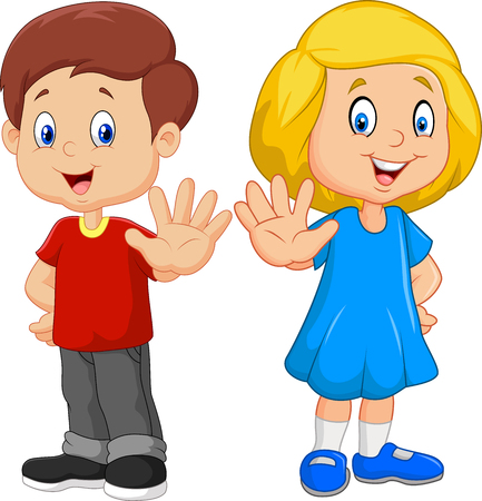 Vector illustration of Cartoon kids are showing a stop sign isolated on white background
