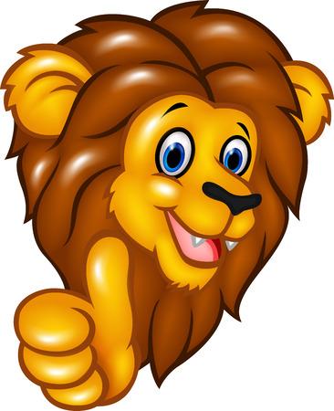 personaje: Ilustración del vector de la mascota del león feliz dando pulgar hacia arriba