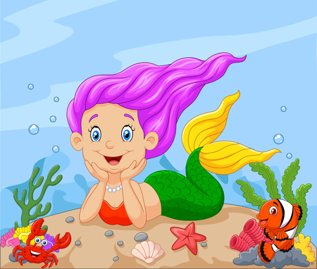 clown fish: Vector illustration of Happy little mermaid laying on the sand