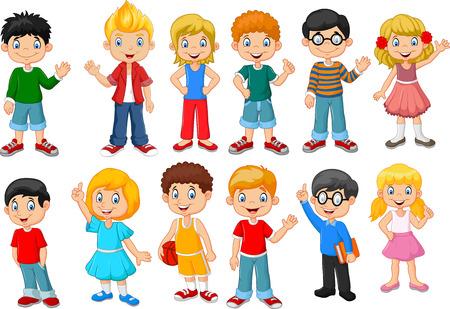 escuela caricatura: Ilustración vectorial de feliz poco niños conjunto de recopilación. aislado en fondo blanco