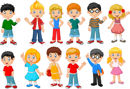 cartoon school girl: Vector illustration of Happy little kids collection set. isolated on white background