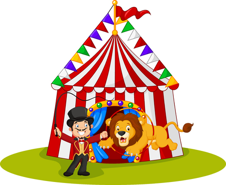 Vector illustration of Cartoon lion jumping through ring with circus tent background