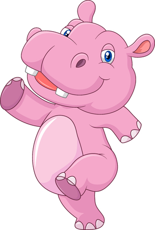 running: Vector illustration of Cartoon cute baby hippo running and happy Illustration
