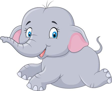 Vector illustration of Cute baby elephant sitting isolated on white background