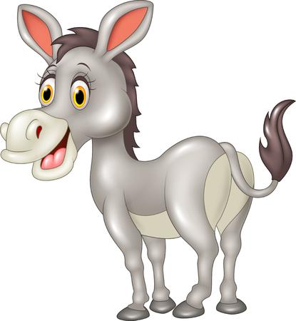 culo: Ilustraci�n vectorial de burro divertido de la historieta aislado en el fondo blanco