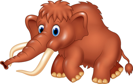 ancient creature: Vector illustration of Cute mammoth cartoon isolated on white background