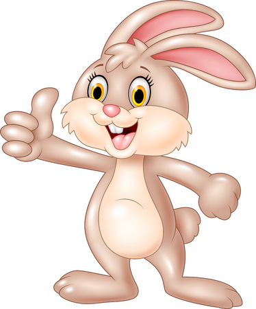 thumbsup: Vector illustration of Cartoon bunny giving thumb up on white background Illustration