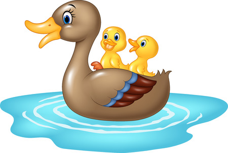 Vector illustration of Cartoon ducks on the pond isolated on white background
