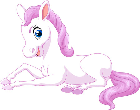 lie down: Vector illustration of Cartoon funny beautiful pony horse sitting isolated on white background