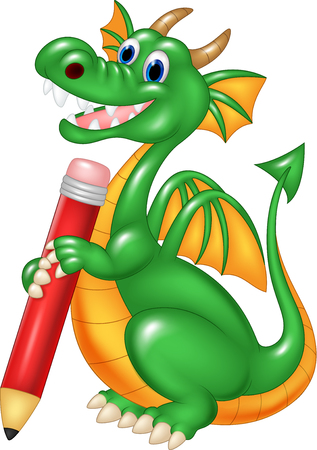 red pencil: Vector illustration of Cute dragon holding red pencil isolated on white background