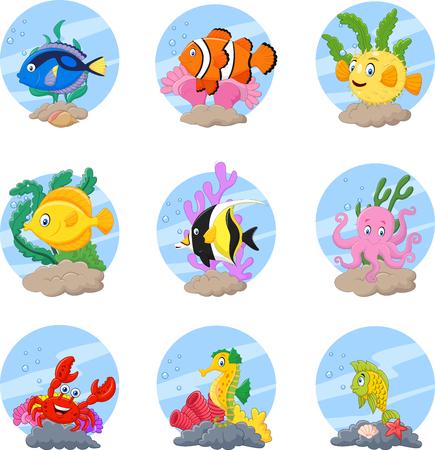 Ilustración del vector de la colección de la vida marina de la historieta fijó en el fondo blanco Ilustración de vector