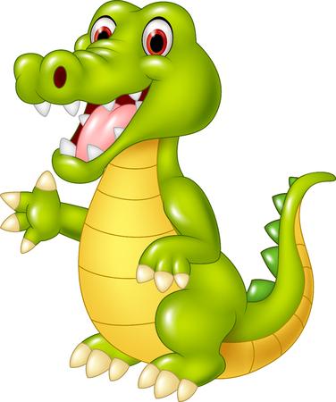 Vector illustratie van Cartoon grappige krokodil zwaaien hand op een witte achtergrond