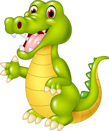 Vector illustration of Cartoon funny crocodile waving hand isolated on white background