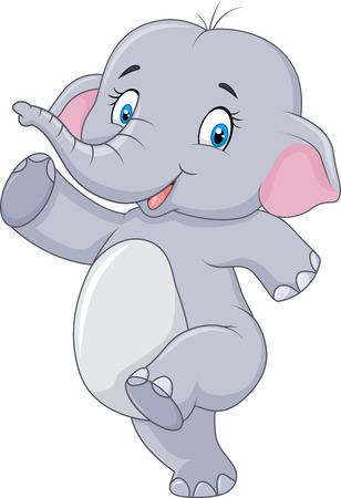 Vector illustration of Cartoon Cute happy cartoon elephant isolated on white background Illustration
