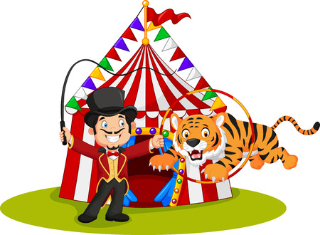 Vector illustration of Cartoon tiger jumping through ring with circus tent background