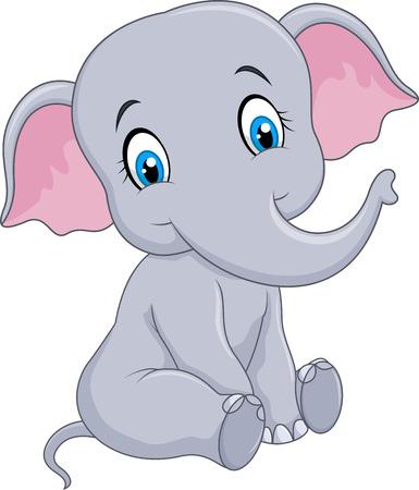 funny baby: Vector illustration of Cartoon funny baby elephant sitting isolated on white background