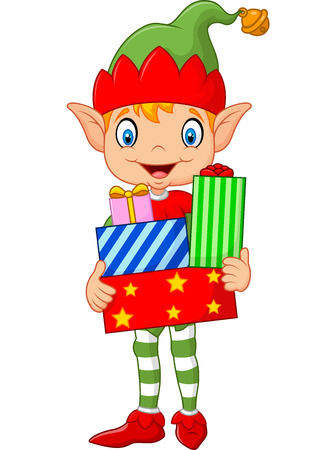 elves: Vector illustration of Happy green elf boy costume holding birthday gifts