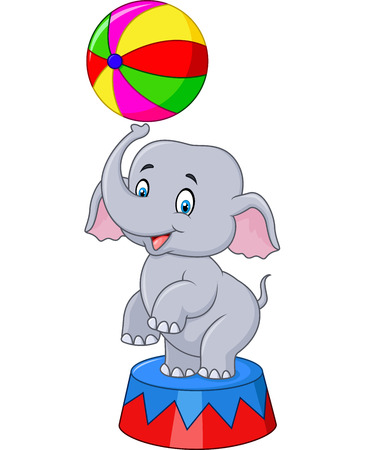 big figure: Vector illustration of Circus elephant with a striped ball stands on a podium isolated on white background Illustration