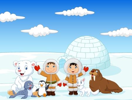 Ilustración vectorial de los niños pequeños vestir traje de esquimal tradicional con animales árticos y casa iglú fondo