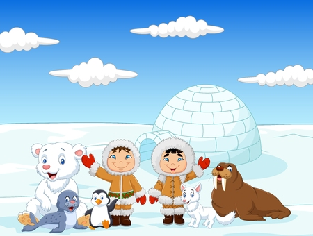 Vector illustration of Little kids wearing traditional eskimo costume with arctic animals and igloo house background