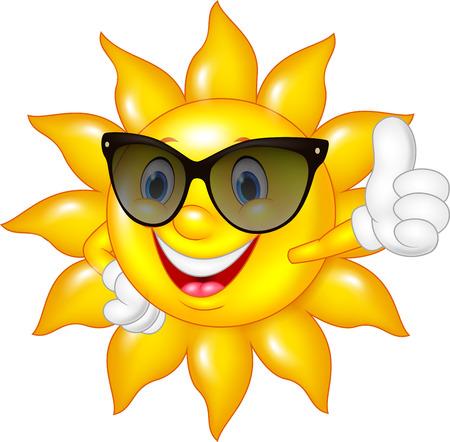 divercio n: Ilustración vectorial de sol que da los pulgares para arriba aislados de dibujos animados sobre fondo blanco