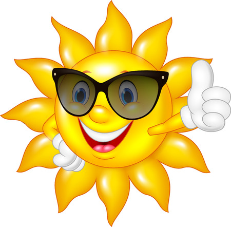 Vector illustration of Cartoon sun giving thumbs up isolated on white background Ilustração
