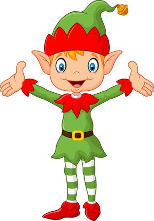 duendes de navidad: Ilustración del vector de manos verdes del traje niño duende lindo para arriba. aislado en el fondo blanco Vectores