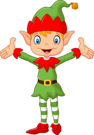 elves: Vector illustration of Cute green elf boy costume hands up . isolated on white background Illustration