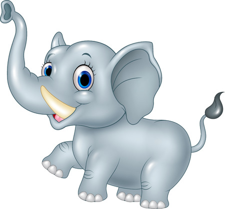 proboscis: Vector illustration of Cartoon funny baby elephant isolated on white background