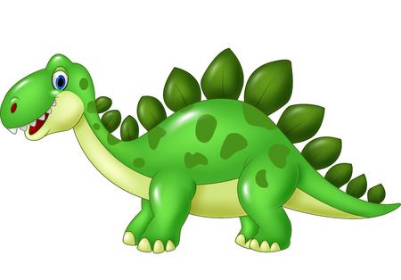 stegosaurus: Ilustraci�n del vector de la historieta divertida mascota Stegosaurus aislado en el fondo blanco