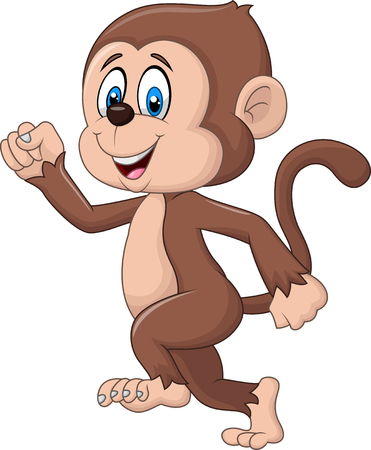 Vektor-Illustration von Cartoon funny monkey Laufen isoliert auf weißem Hintergrund Standard-Bild - 47451259