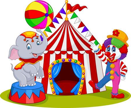 Ilustración del vector del Elefante de circo y clown con el carnaval de fondo