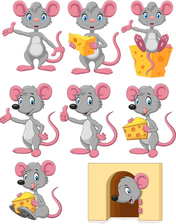 Vector illustration of Cartoon funny mouse collection set on white backgound