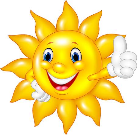 sol caricatura: Ilustración vectorial de sol que da los pulgares para arriba aislados de dibujos animados sobre fondo blanco