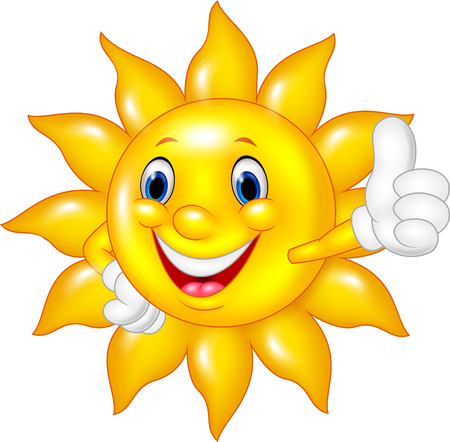 Vector illustration de bande dessinée soleil donnant pouces jusqu'à isolé sur fond blanc