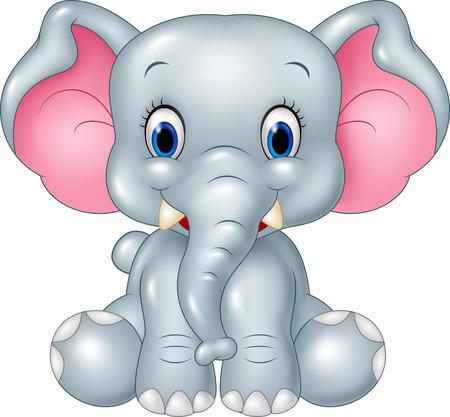 Vector illustration of Cartoon funny baby elephant sitting isolated on white background