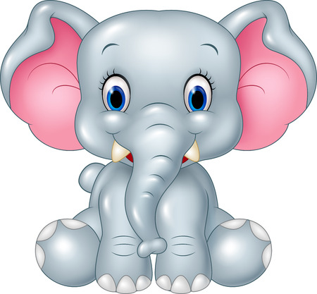 silly: Vector illustration of Cartoon funny baby elephant sitting isolated on white background