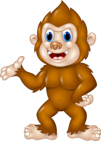 Vector illustration of Adorable Sasquatch waving hand isolated on white background