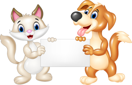 holding sign: Vector illustration of Cute cat and dog holding blank sign