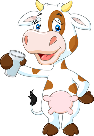 Vector illustration of Happy cow animal holding a glass of milk isolated on white background