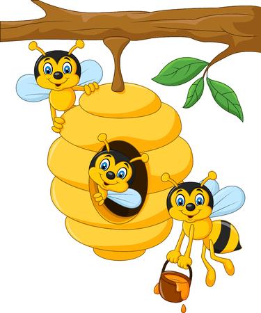 insecto: Ilustración vectorial de dibujos animados rama de un árbol con un panal de abejas y una abeja Vectores