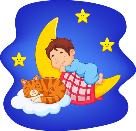 Vector illustration of Cute little boy with cat sleeping on the moon