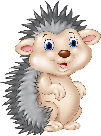 Vector illustration of Adorable baby hedgehog sitting isolated on white background