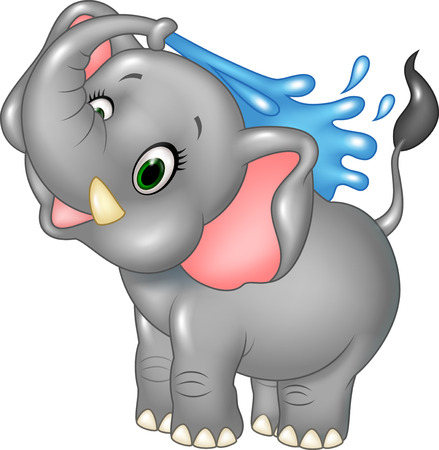 spraying: Vector illustration of Cartoon happy elephant spraying water